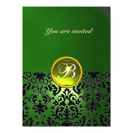 DAMASK GEM STONE MONOGRAM green yellow Invitation