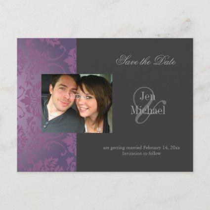 Damask Save the Date Photo s, Announcement