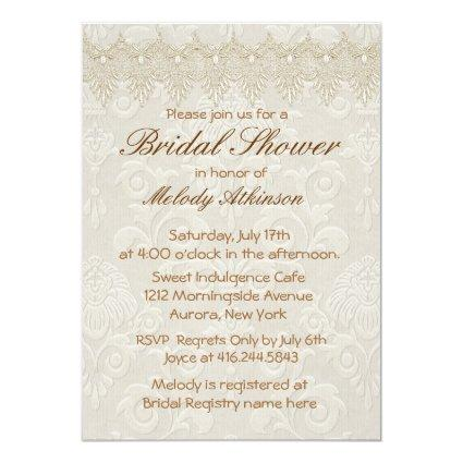 Damask Swan Elegance Ivory - Bridal Shower Invitation