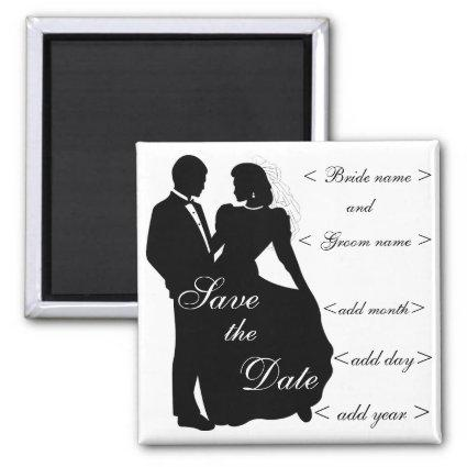 Dancing Bride and Groom Silhouette Favors Magnets