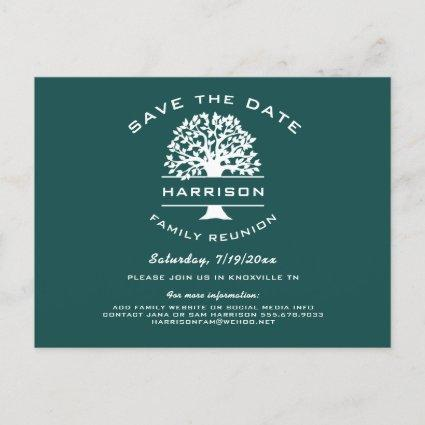 Dark Blue Green Family Tree Reunion Save the Date Announcement