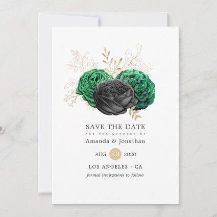 Dark Emerald and Gold Floral Wedding Save The Date