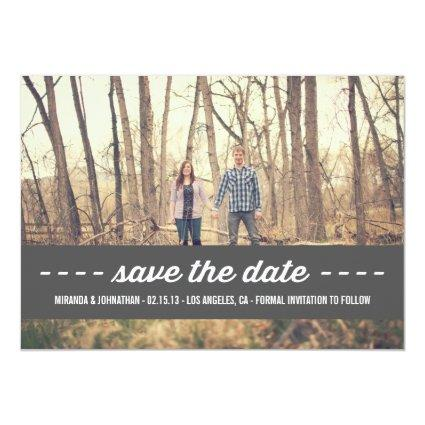 Dark Gray Banner Save The Date Announcements