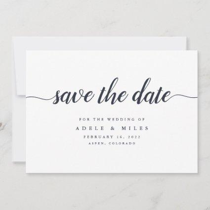 Dark Navy & White Calligraphy Save the Date Card