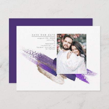 Dark Purple and Gold Modern Save the Date Photo