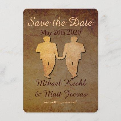 Dark Rustic Save the Date Card Gay Wedding