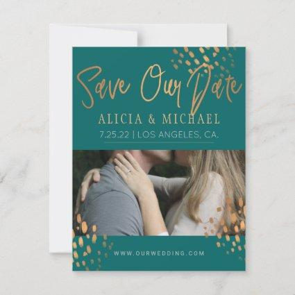 Dark Teal PHOTO Faux Rose Gold Foil Typography Save The Date
