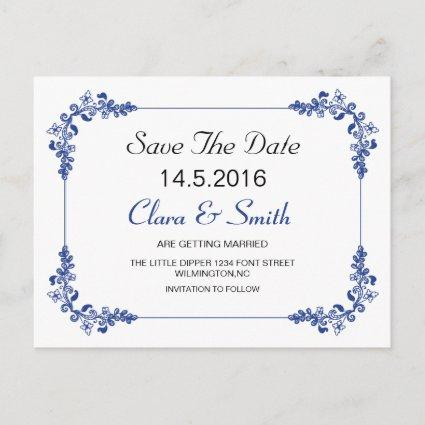 Decorative border Save the Date card