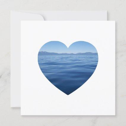 Deep Blue Lake Tahoe Heart Photo Save the Date