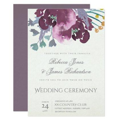DEEP PURPLE AQUA WATERCOLOUR FLORAL WEDDING INVITATION
