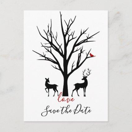Deer Couple in Love Winter Save the Date Wedding Announcement