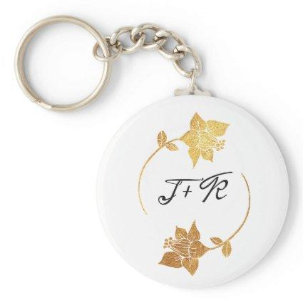 Deilciate Black White Gold Ring Monogram Flowers Keychain