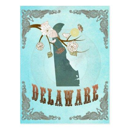 Delaware Map With Lovely Birds Cards