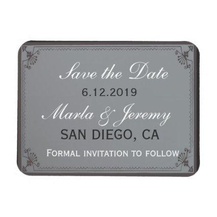 Delicat gray and white save the date magnet