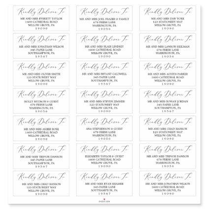 Delicate Black Calligraphy Guest Address Labels