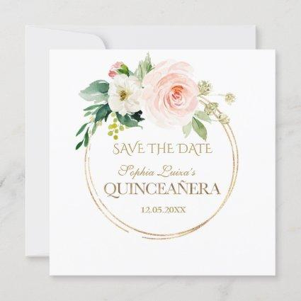 Delicate Blush White Flowers Gold Quinceañera Save The Date