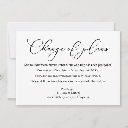Delicate Calligraphy Change Of Plans Wedding Card