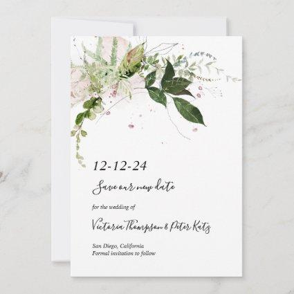Delicate floral Greenery Save the Date Invitation