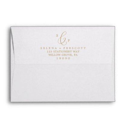 Delicate Gold Calligraphy Monogram Wedding Envelope
