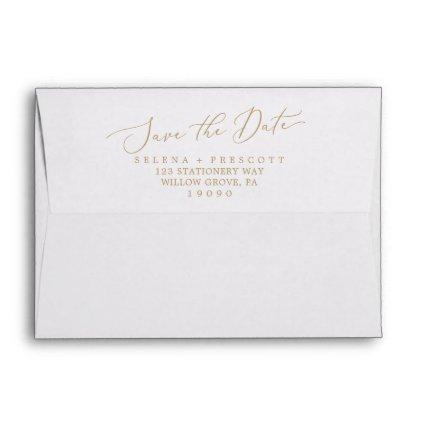Delicate Gold Calligraphy Save the Date Card Envelope