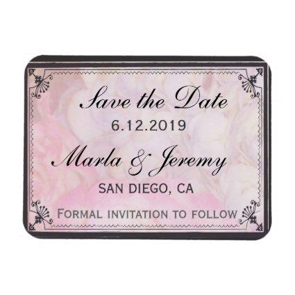 Delicate gray pink and cream save the date magnet