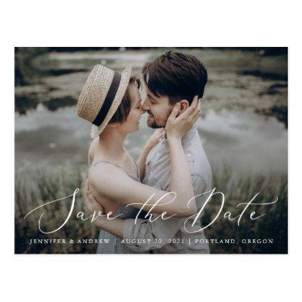 Delicate Script | Photo Save The Date Announcements Cards