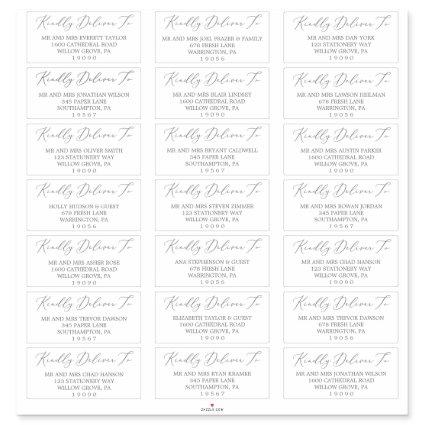 Delicate Silver Calligraphy Guest Address Labels