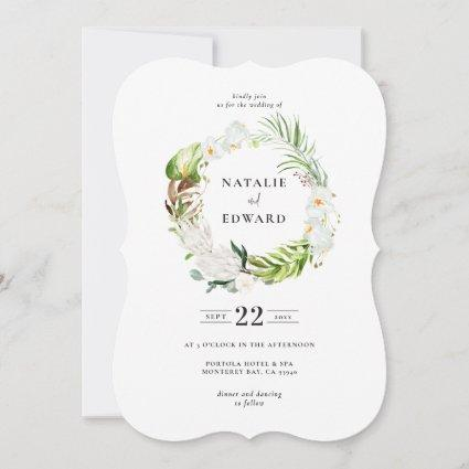 Delicate tropical floral wreath wedding invitation