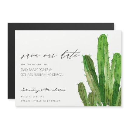 DESERT CACTUS FOLIAGE WATERCOLOR SAVE THE DATE MAGNETIC INVITATION