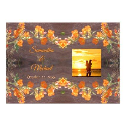 Desert Wildflowers Photo Fancy Text Save the Date Invitation