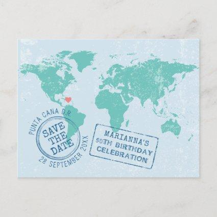 Destination Birthday Map Save the Date Announcement