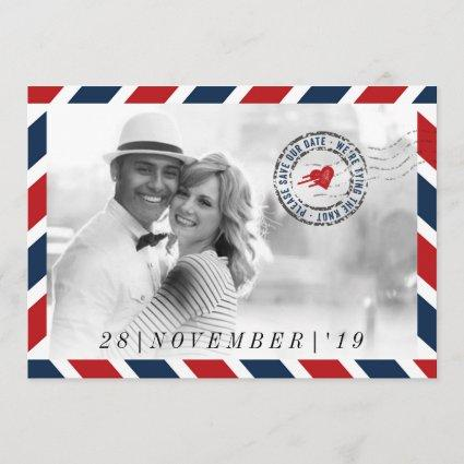 Destination Save The Date Airmail Post Photo Cards