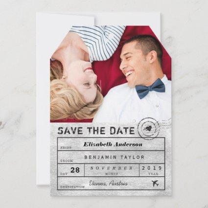 Destination Wedding Chic Silver Luggage Tag Photo Save The Date