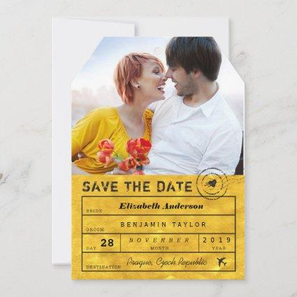 Destination Wedding Classy Gold Luggage Tag Photo Save The Date