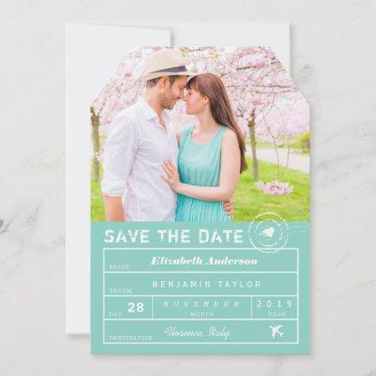 Destination Wedding Mint Green Luggage Tag Photo Save The Date