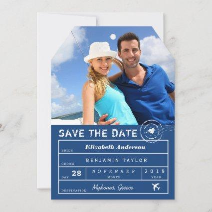 Destination Wedding Navy Blue Luggage Tag Photo Save The Date