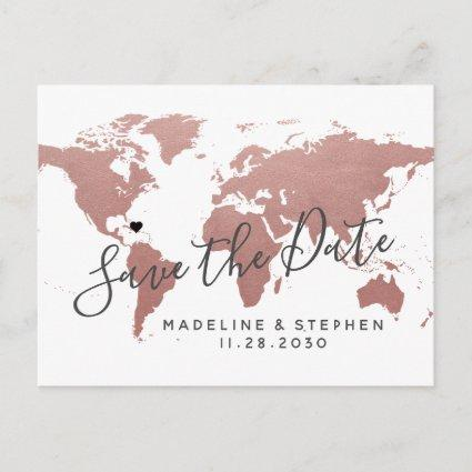 Destination Wedding Save Date Rose Gold Pink Map Announcements Cards