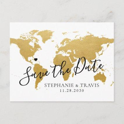 Destination Wedding Save the Date Gold Map Announcement