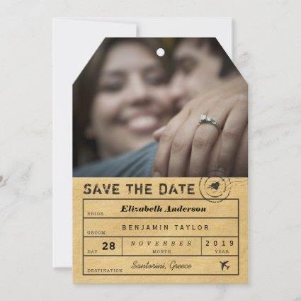 Destination Wedding Stylish Gold Luggage Tag Photo Save The Date
