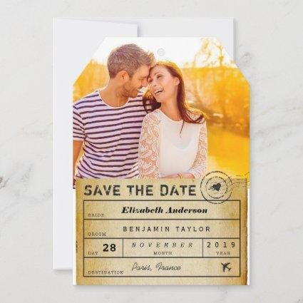 Destination Wedding Vintage Luggage Tag Photo Save The Date