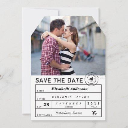 Destination Wedding White Black Luggage Tag Photo Save The Date