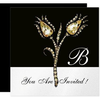 DIAMOND TULIPS MONOGRAM ,Silver Metallic Invitation