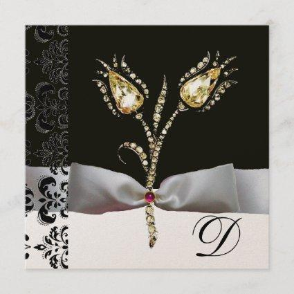 DIAMOND TULIPS ,Pink Black White Damask Monogram Announcement
