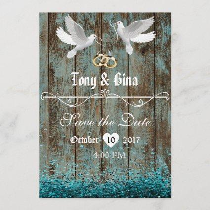 Distressed Wood & Doves Save The Date w/ glitter