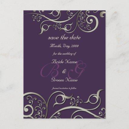 diy color, save the date, monogram silver swirls announcement
