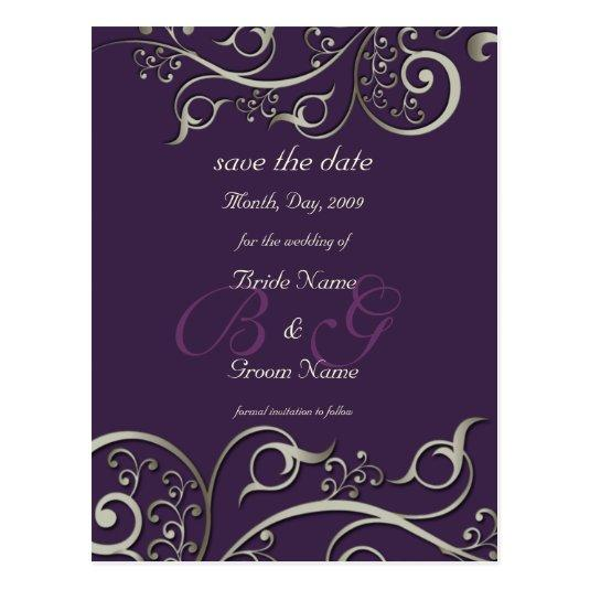 diy color, save the date, monogram silver swirls