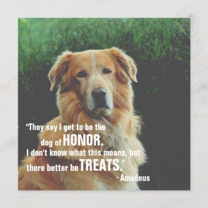 Dog Of Honor Funny Pet Save The Date