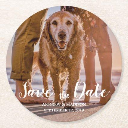 Dog on Beach with Couple Save the Date Round Paper Coaster