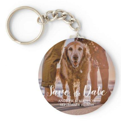 Dog on Tropical Beach with Couple Save the Date Keychain