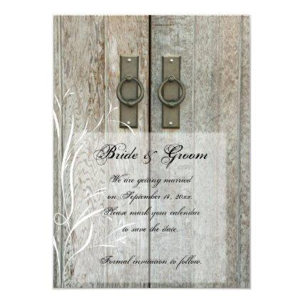 Double Barn Doors Country Wedding Save the Date Invitation